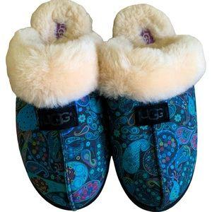 UGG Blue & Purple Paisley Print Slip-On Shoes   UGG Paisley Slippers SIZE 10